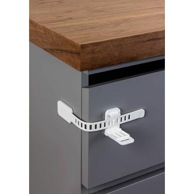loquet de sécurité flexble installé sur tiroir en angle flexible