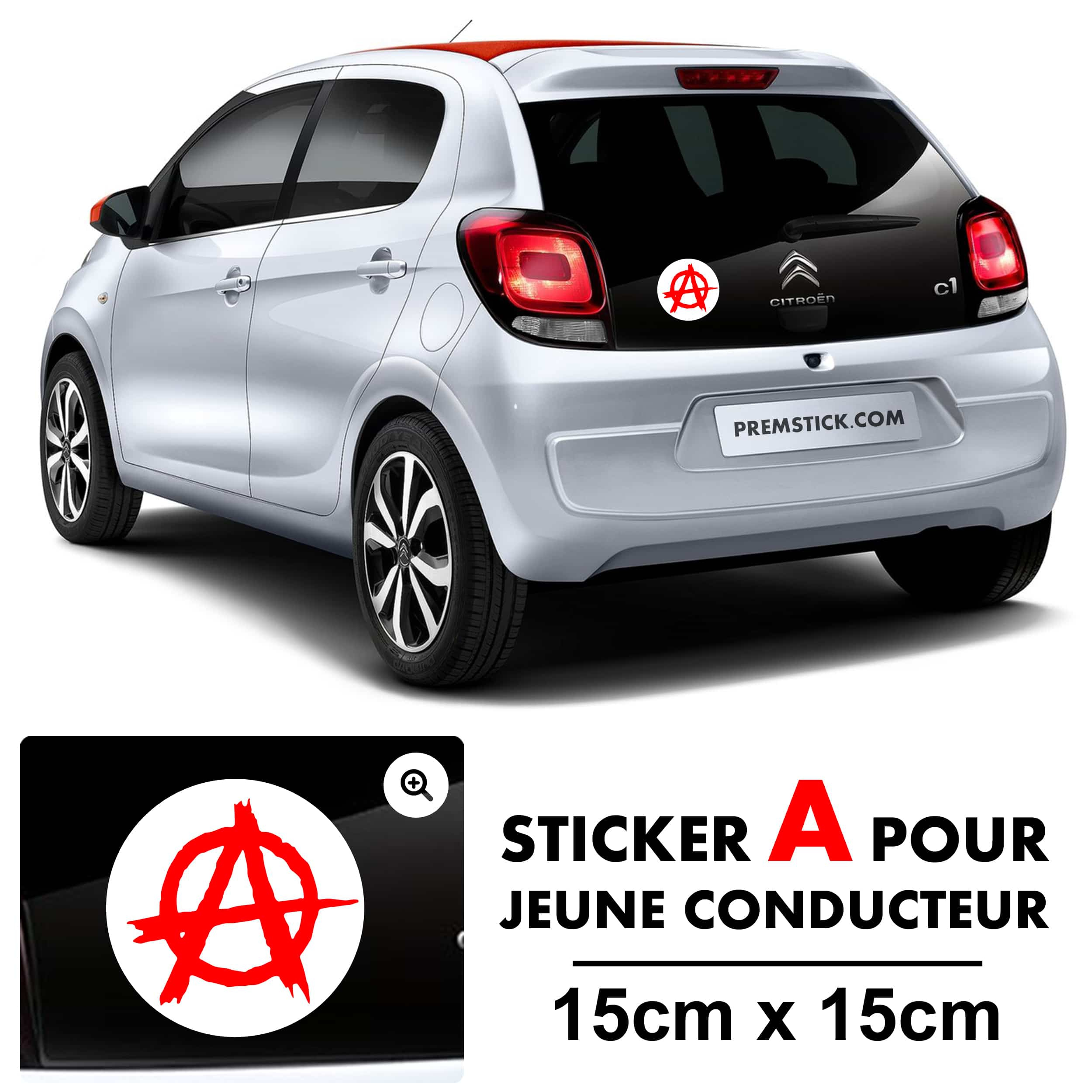 stickers a jeune conducteur anarchy autocollant voiture. Black Bedroom Furniture Sets. Home Design Ideas