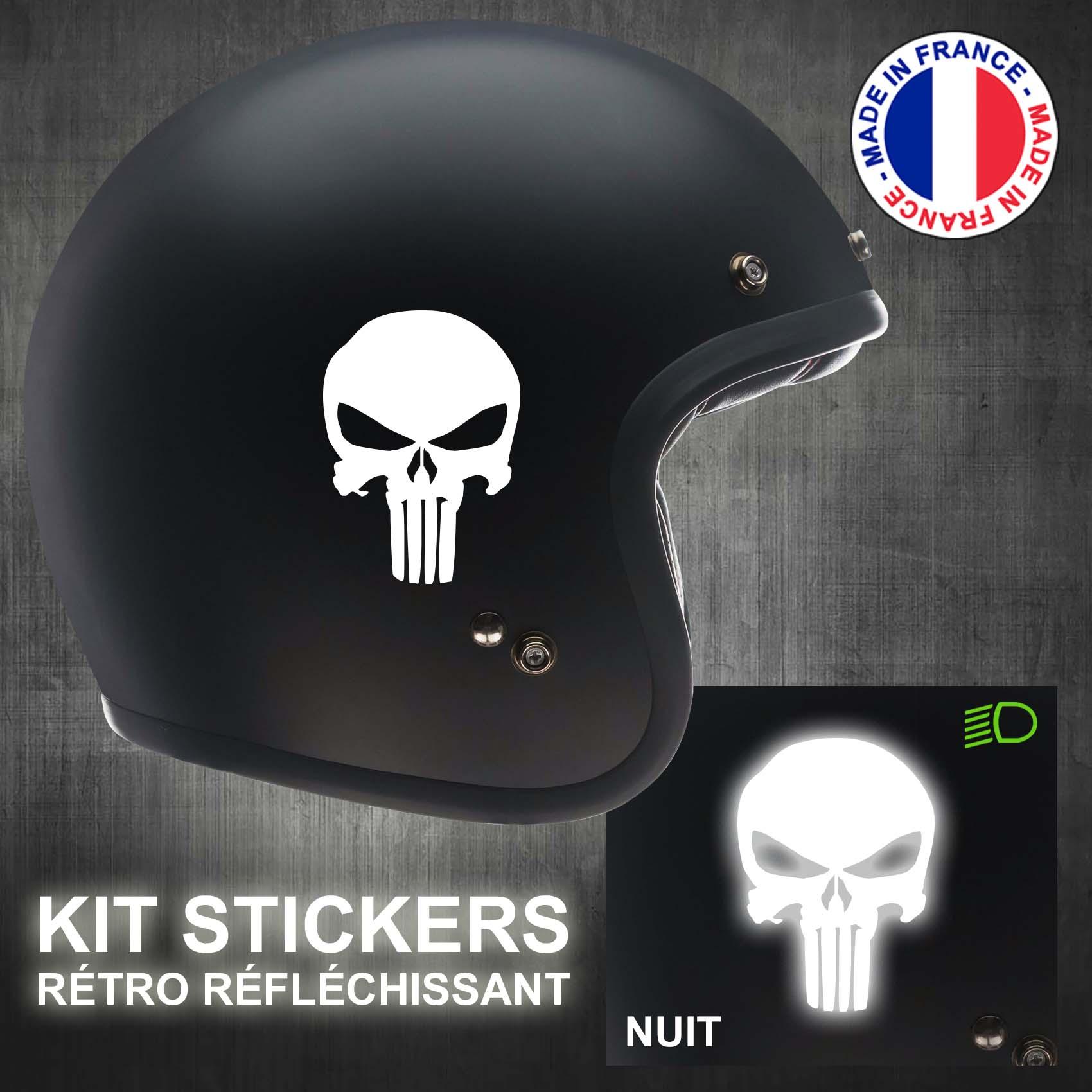 Stickers r/étro r/éfl/échissant pour Casque de Moto The Punisher