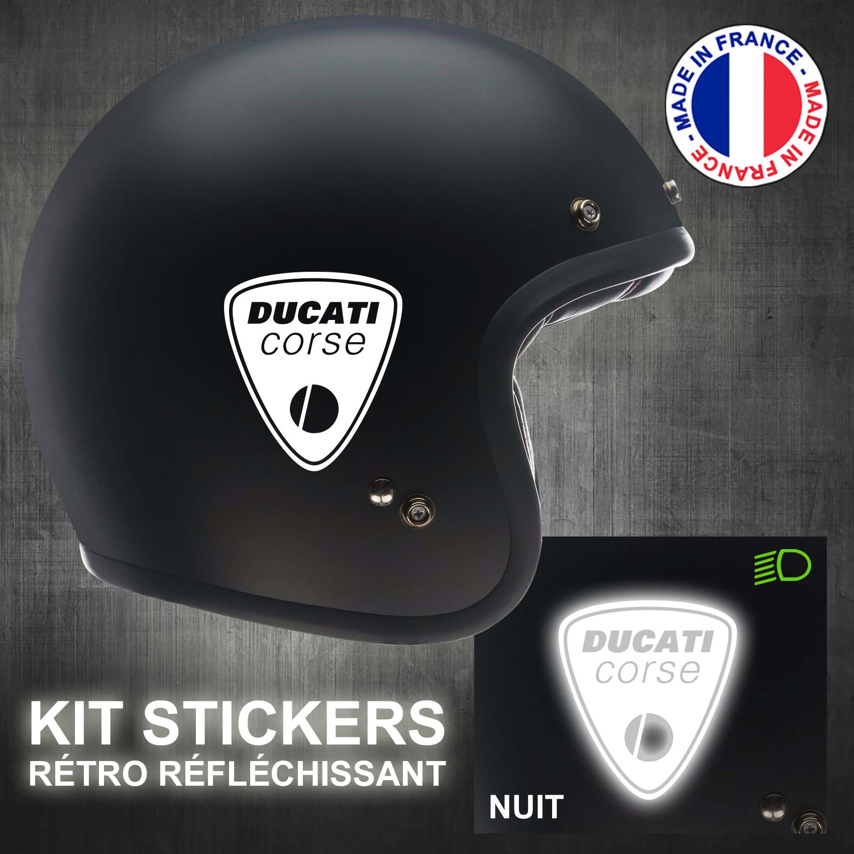 stickers-casque-moto-ducati-corse-ref1-retro-reflechissant-autocollant-noir-moto-velo-tuning-racing-route-sticker-casques-adhesif-scooter-nuit-securite-decals-personnalise-personnalisable-min
