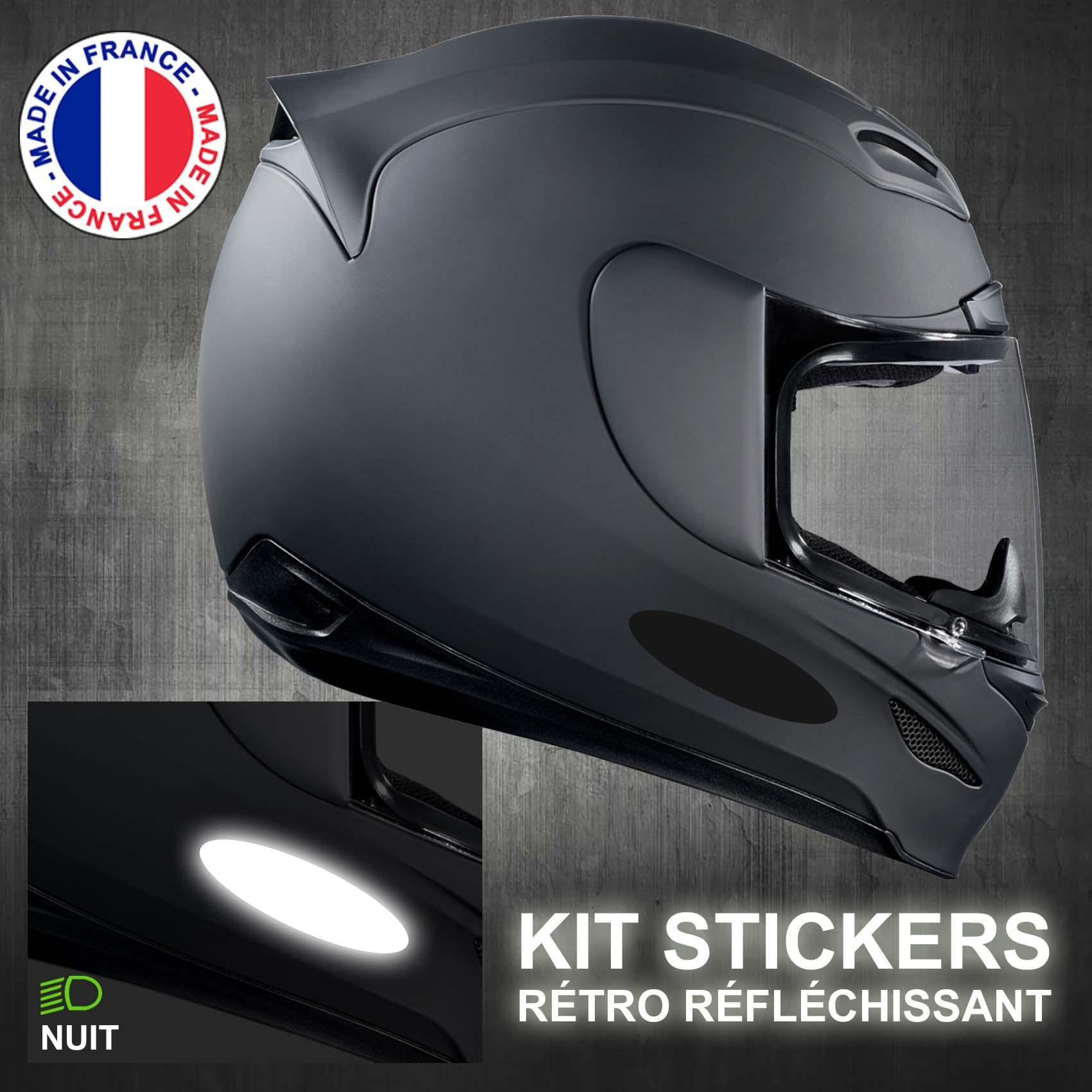 8er Set REFLECHISSANT Autocollant Noir Ovale Casque Sécurité Vélo k133