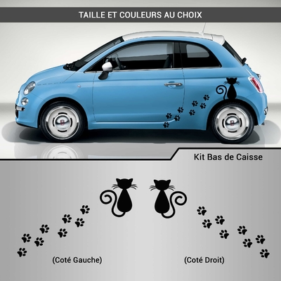 KIT STICKERS DECO VOITURE CHAT TRACES DE PAS