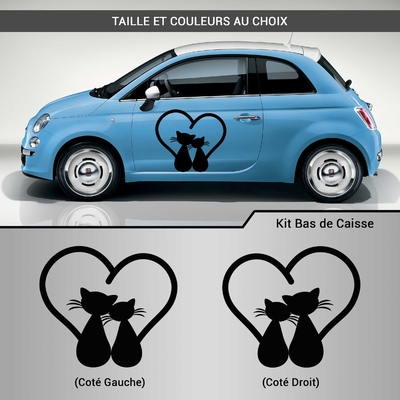 KIT STICKERS DECO VOITURE CHAT COEUR