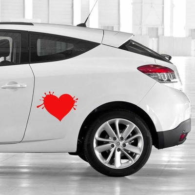 STICKERS COEUR ECLABOUSSURE DECO VOITURE