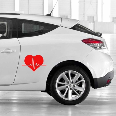 STICKERS COEUR ELECTROCARDIOGRAMME DECO VOITURE