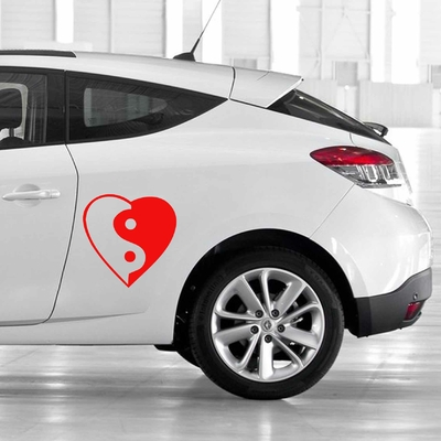 STICKERS COEUR YING YANG DECO VOITURE