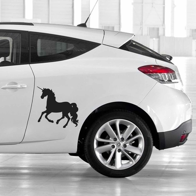 STICKERS LICORNE COURSE DECO VOITURE