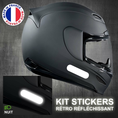 4 STICKERS REFLECHISSANTS BLANC BANDES STANDARD