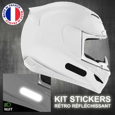 4 STICKERS REFLECHISSANTS NOIR BANDES STANDARD