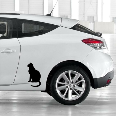 STICKERS CHAT ASSIS DECO VOITURE