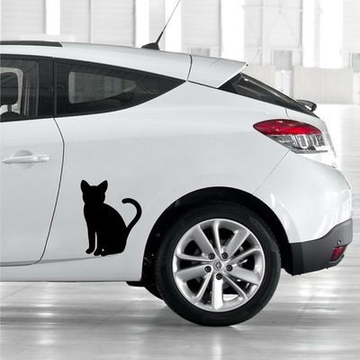STICKERS CHAT SILHOUETTE DECO VOITURE