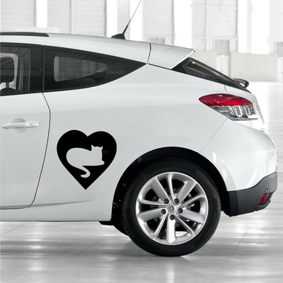 STICKERS CHAT COEUR DECO VOITURE