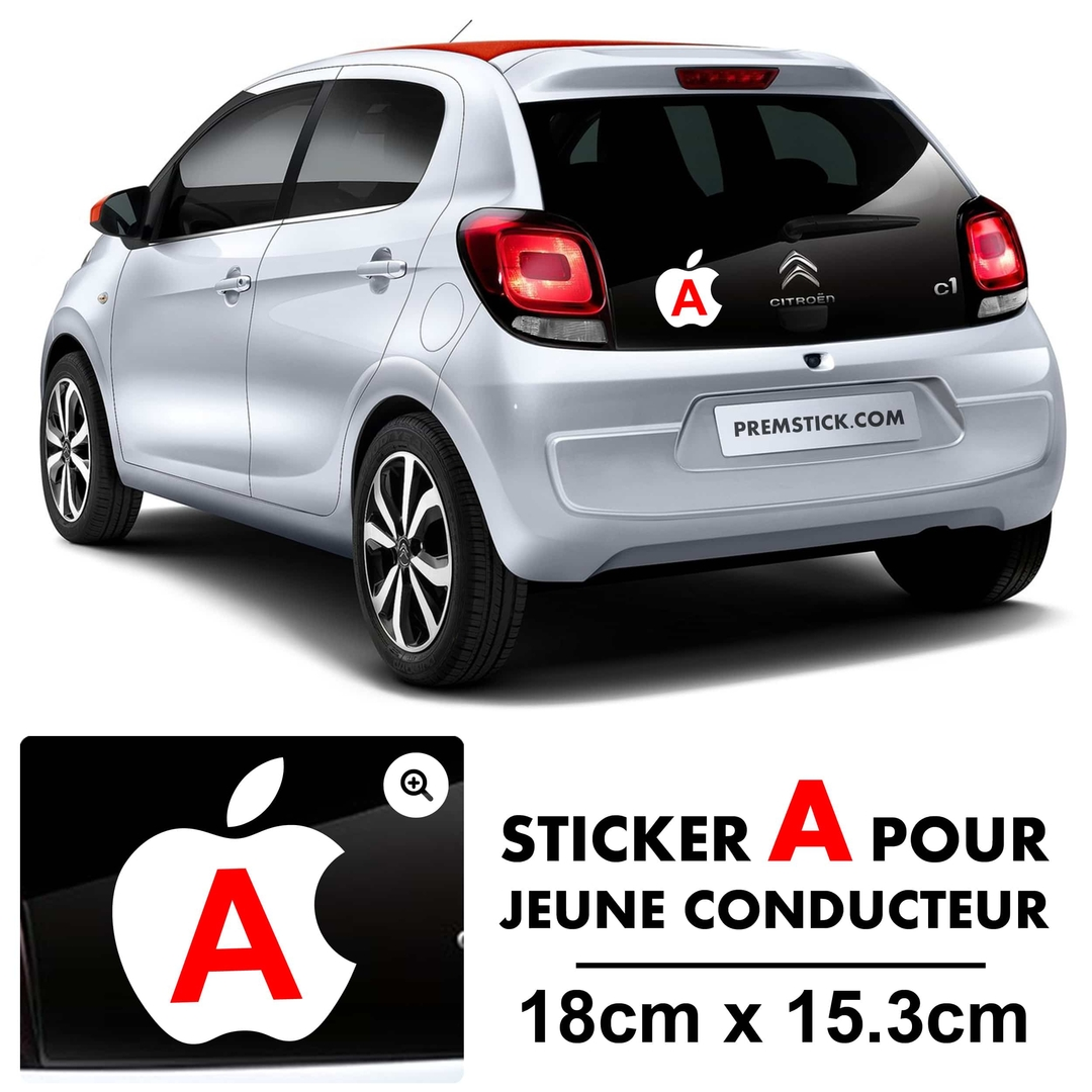stickers a jeune conducteur apple autocollant voiture. Black Bedroom Furniture Sets. Home Design Ideas