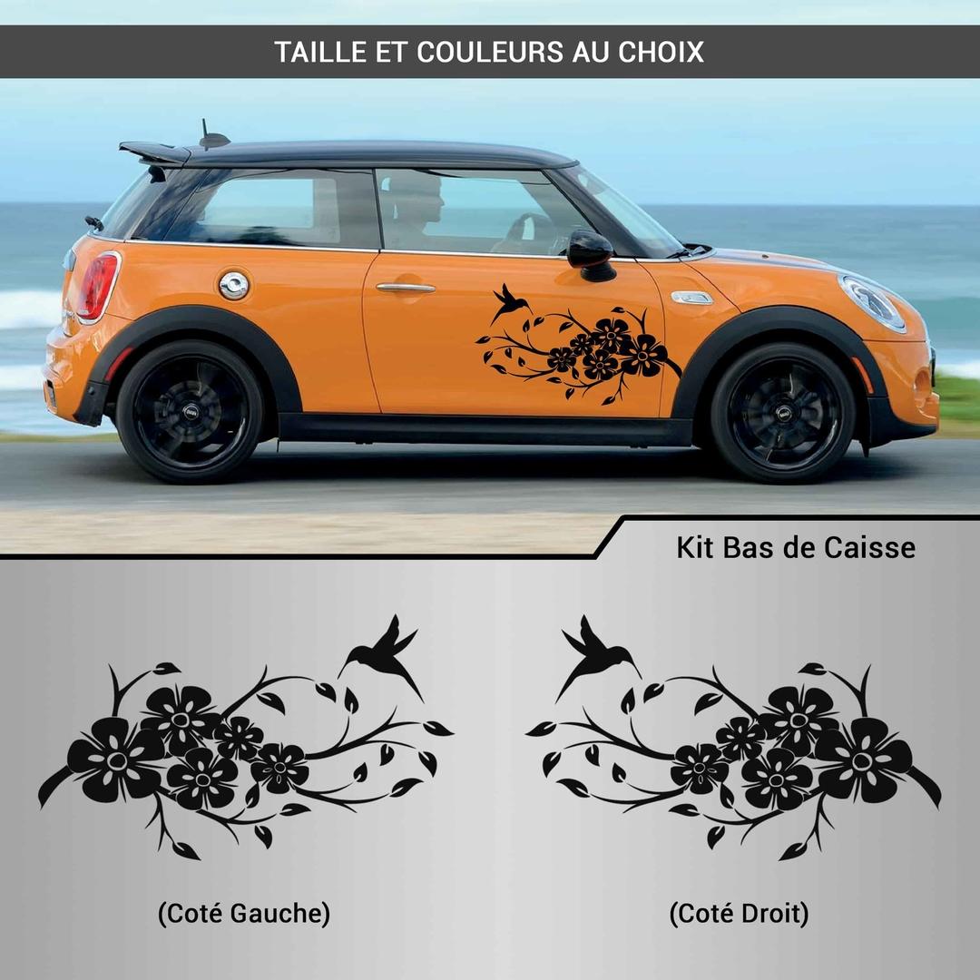 kit stickers d co voiture fleurs colibri autocollant. Black Bedroom Furniture Sets. Home Design Ideas