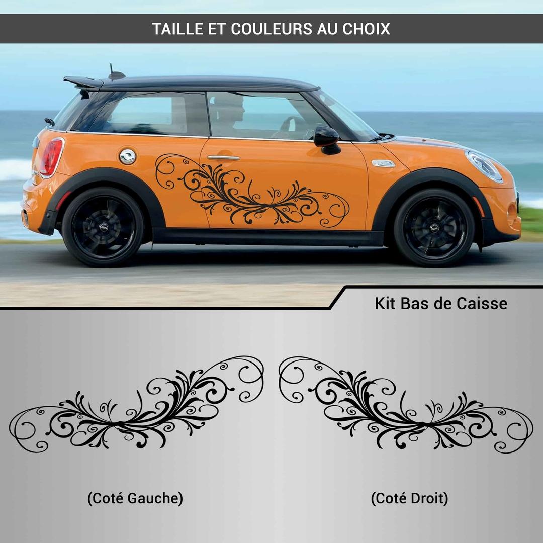 kit stickers d co voiture fleurs arabesque autocollant. Black Bedroom Furniture Sets. Home Design Ideas
