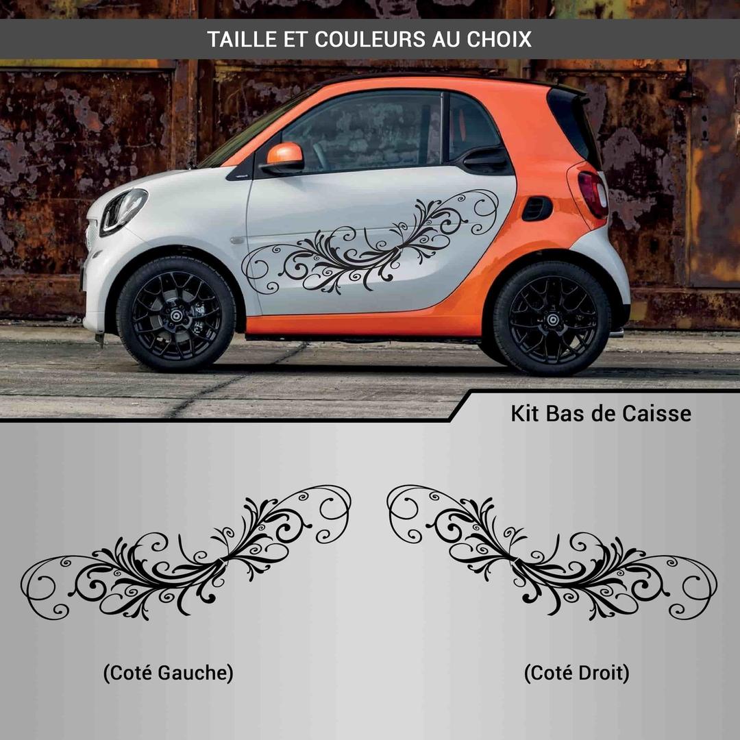 kit stickers d co voiture arabesque fleurs autocollant. Black Bedroom Furniture Sets. Home Design Ideas