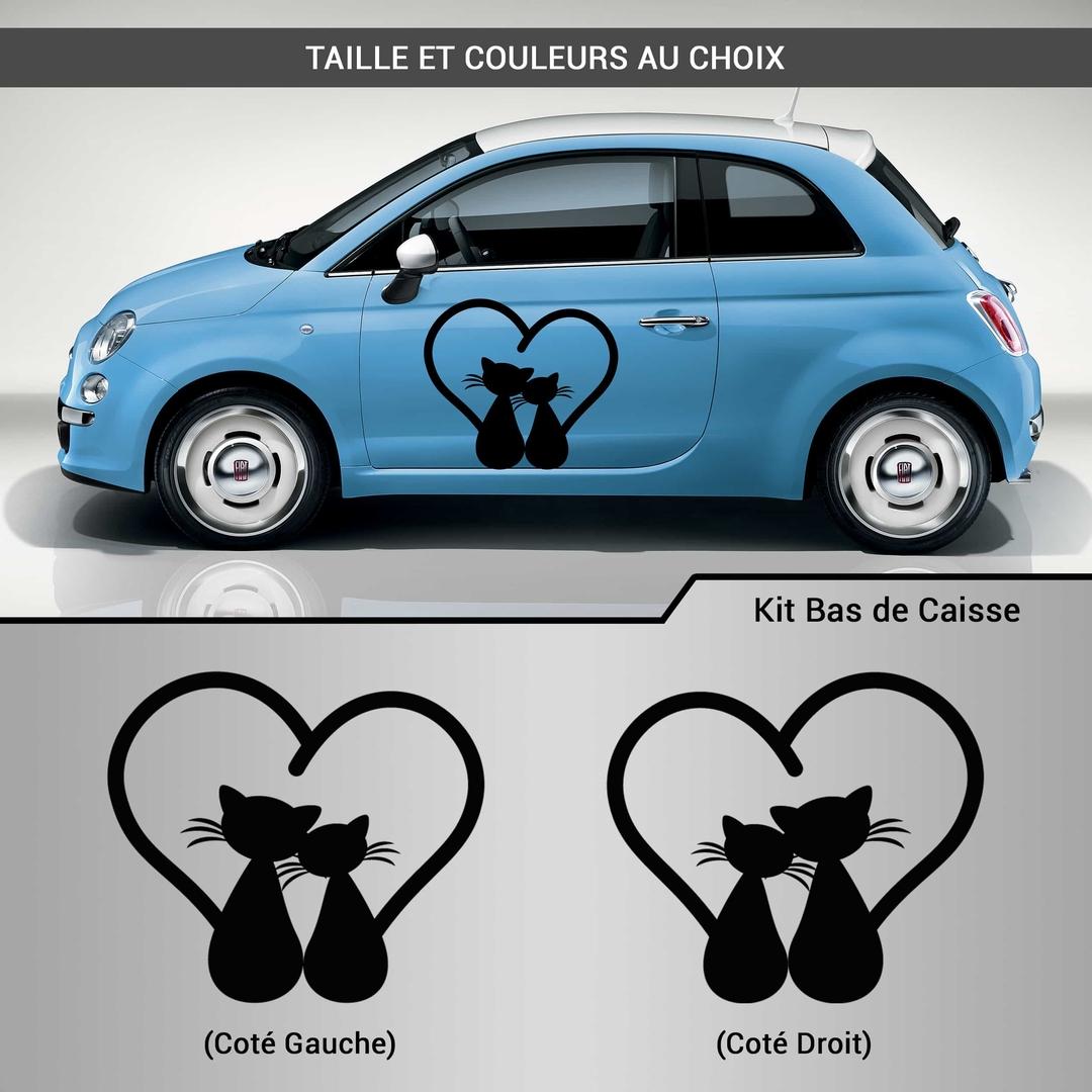 kit stickers d co voiture chat coeur autocollant. Black Bedroom Furniture Sets. Home Design Ideas