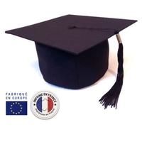 COIFFE DE DIPLOME CLASSIQUE EN TISSU NOIR - PERSONNALISATION POSSIBLE POUR 1€ !