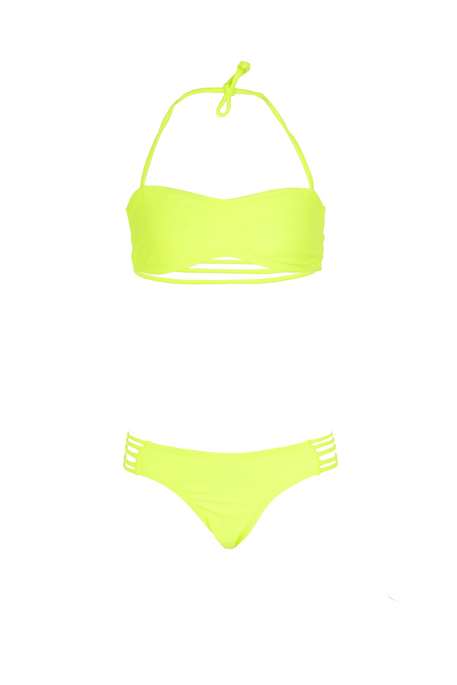 ea9bb58648 Young girl neon yellow swimsuit - Two piece strapless swimsuit
