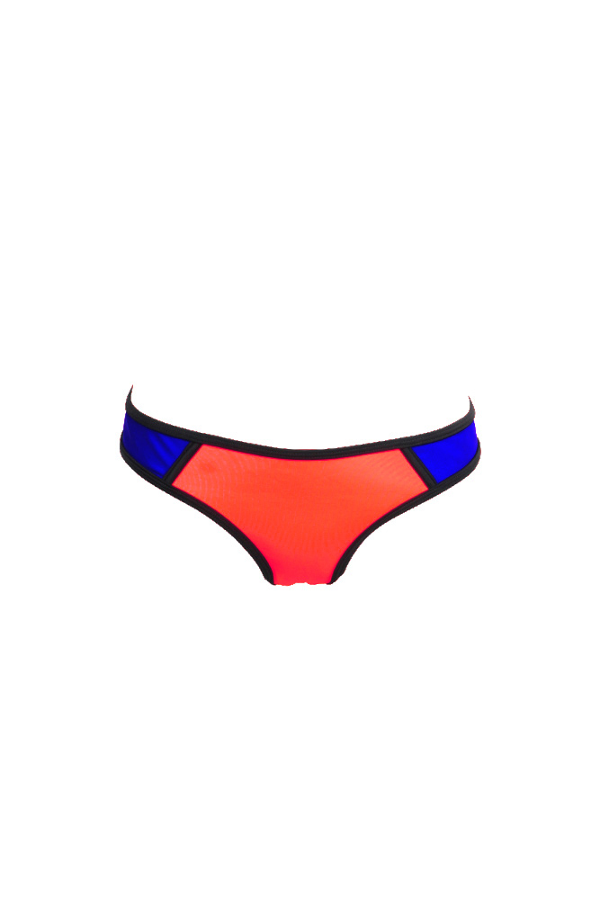 Mon Bikini Neoprene - Coral and Royal Blue Swimsuit (Bottoms)
