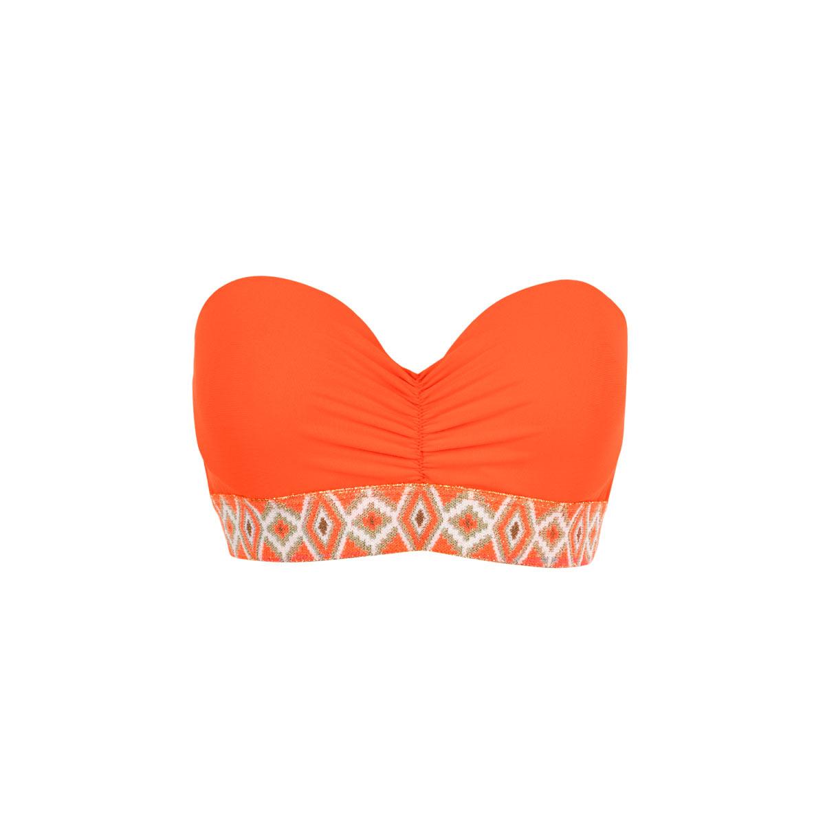 f47dc28341 sexy Bandeau bikini with ethnic touch - neon orange bikini top