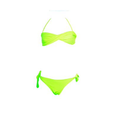 Kids two-piece swimsuit neon yellow