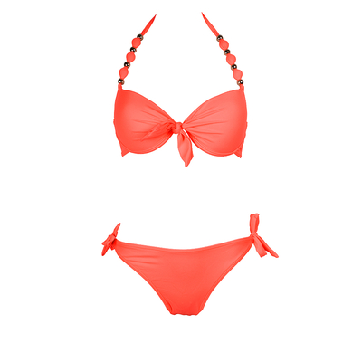Two-piece swimsuit balconnette push-up neon coral with beads