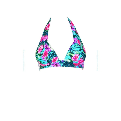 Triangle push-up swimsuit purple Greenway print (Top)