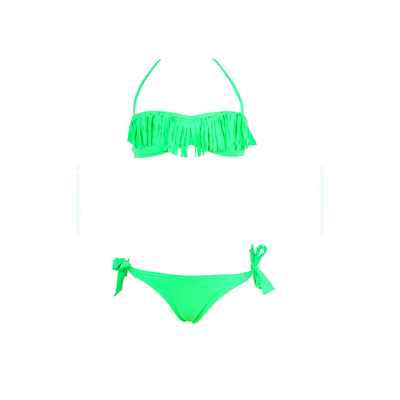 Child swimsuit neon green with fringes
