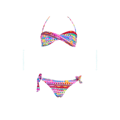 Kids two-piece swimsuit - Twist bandeau multicolor ethnic print