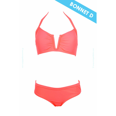 Strapless two-piece swimsuit coral D cup
