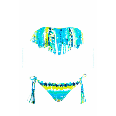 Strapless swimsuit blue multicolor fringes tie & dye