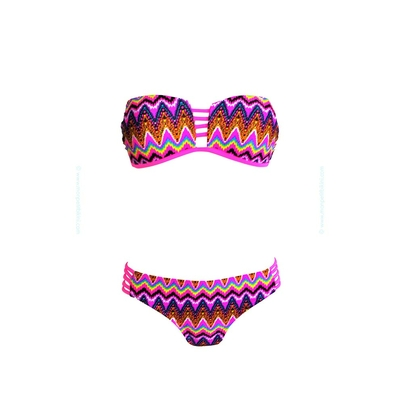 Strapless two-piece swimsuit rainbow multicolor