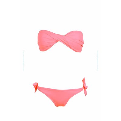 Two-piece swimsuit twist bandeau coral pink