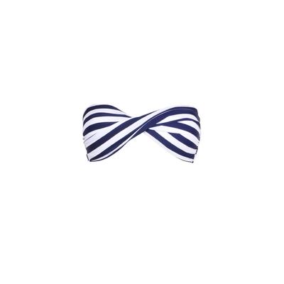 Mon Twist Bikini Stripped Blue - Strapless Twisted Swimsuit (Top)