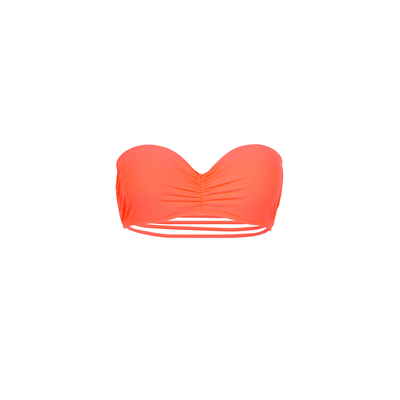 Mon Teenie Bikini Neon Coral - Strapless Swimsuit Strappy Back (Top)