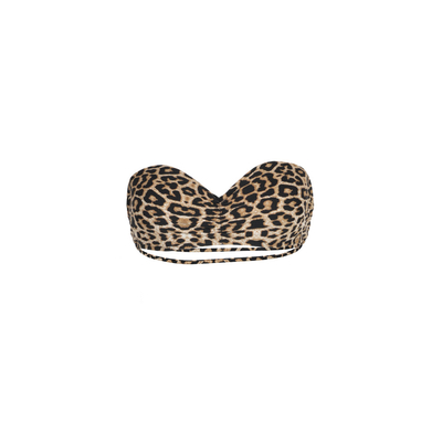Mon Teenie Bikini Leopard Print - Strapless Swimsuit Strappy Back (top)