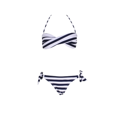 Mon Mini Twist Bikini Stripped Navy - Twist Bandeau Swimsuit for teen girls