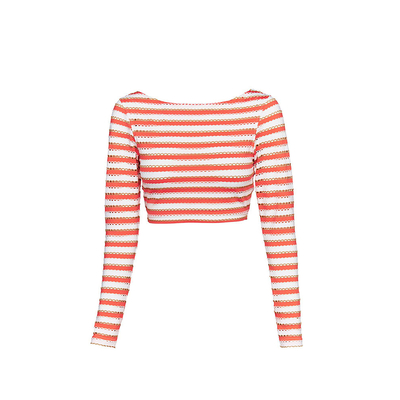 Coral orange striped Crop-top swimsuit Coast to Coast (Top)