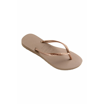 Beach flip-flops Slim beige & gold