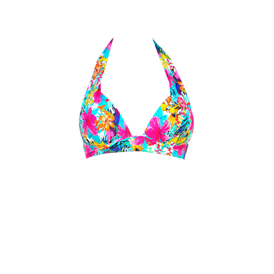 Pink triangle swimsuit flower print Tropicana (Top)