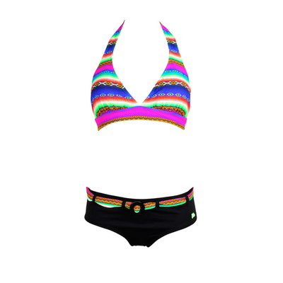 Two-piece bikini triangle/shorty Acapulco neon green