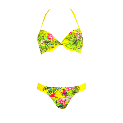 Two-piece swimsuit Yucatan yellow parrot print