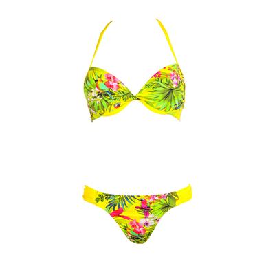Two-piece swimsuit Yucatan yellow parrot print