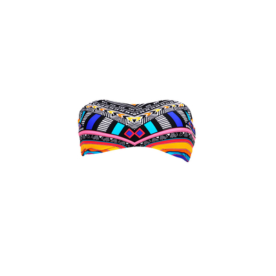 Strapless swimsuit black multicolor Tribal Myth (Top)