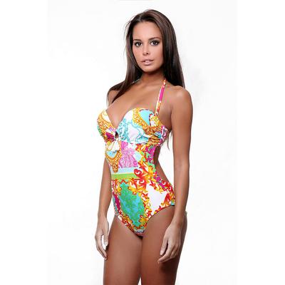 Bustier one-piece swimsuit multicolor