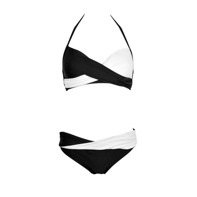 Black and white two-piece swimsuit