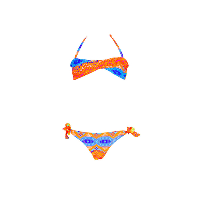 Girl twisted bandeau two-piece bikini multicolor