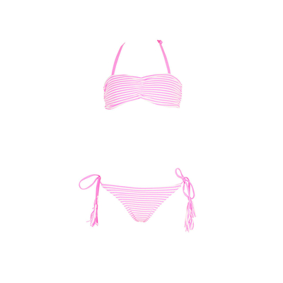 Girl strapless two-piece swimsuit pink