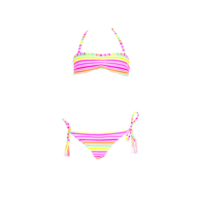 Girl strapless swimsuit multicolor